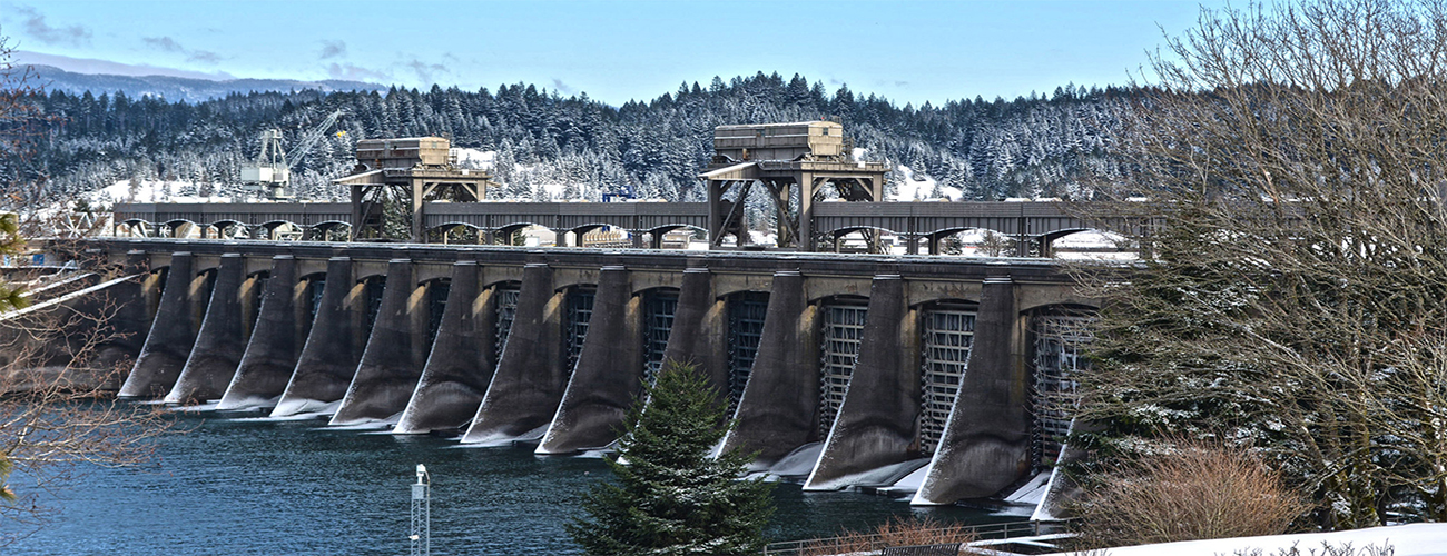 Bonneville Dam in Winter